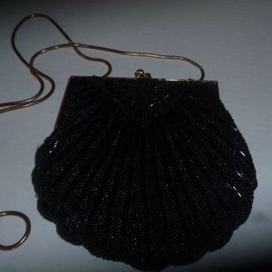 LORD & TAYLOR black glass  Beaded evening bag
